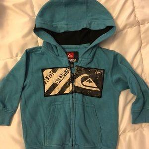 Teal zip up Quiksilver sweatshirt. Toddler 6-9